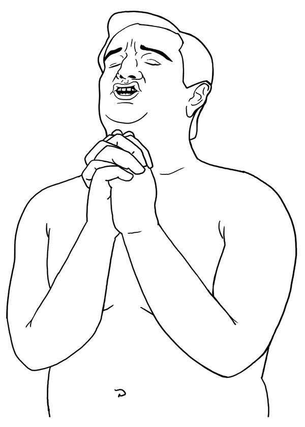 Ted Cruz shirtless and praying for crayon love